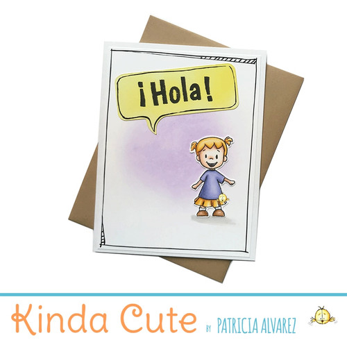 Hello card in Spanish with a little girl. h279