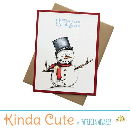 Christmas card with a snowman. h280