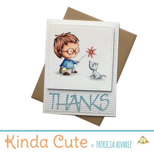 Thank you card with a boy and a puppy. h285
