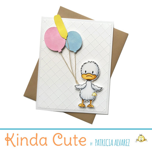 Blank embossing card with a duck and balloons. h286