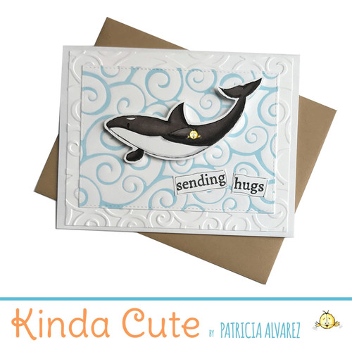 Love card with an orca whale. h287