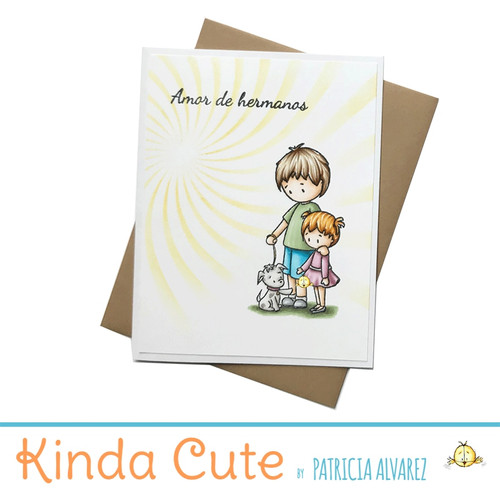 Sibling card in Spanish with a boy, a girl and a puppy. h291