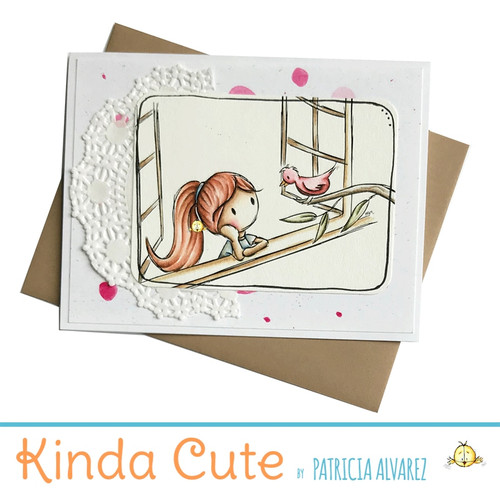 Blank card with a girl looking out the window. h293