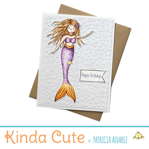 Happy birthday card with a mermaid. h297