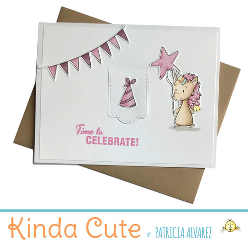 Birthday card with an unicorn in pink. h300