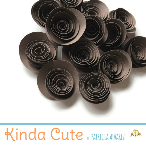 Small brown paper flowers. Set of 24.