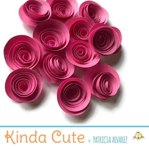 Small bubble gum pink paper flowers. Set of 24.