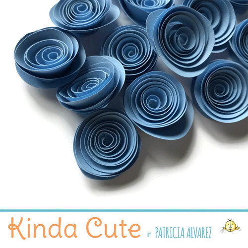 Small colonial blue paper flowers. Set of 24.