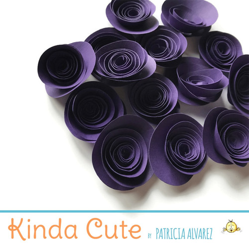 Small dark purple paper flowers. Set of 24.