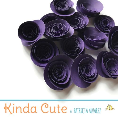 Small dark purple paper flowers. Set of 24.
