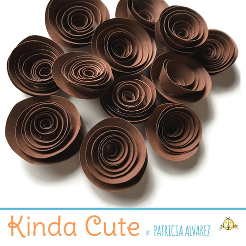 Small espresso brown paper flowers. Set of 24.