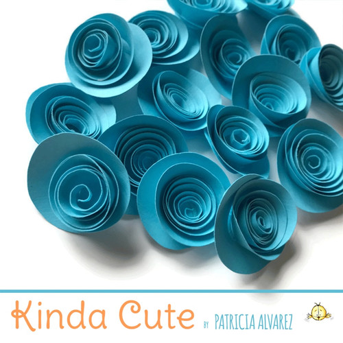 Small lunar blue paper flowers. Set of 24.