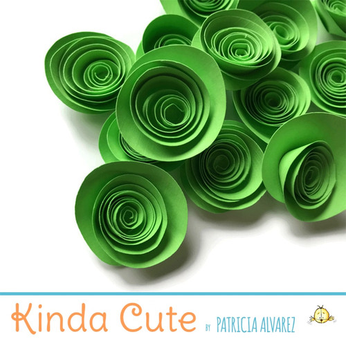 Small martian green paper flowers. Set of 24.