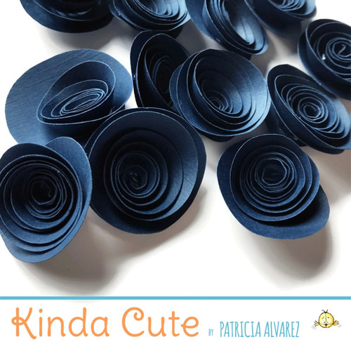 Small midnight blue paper flowers. Set of 24.