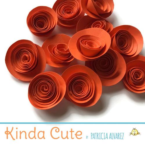 Small orange paper flowers. Set of 24.