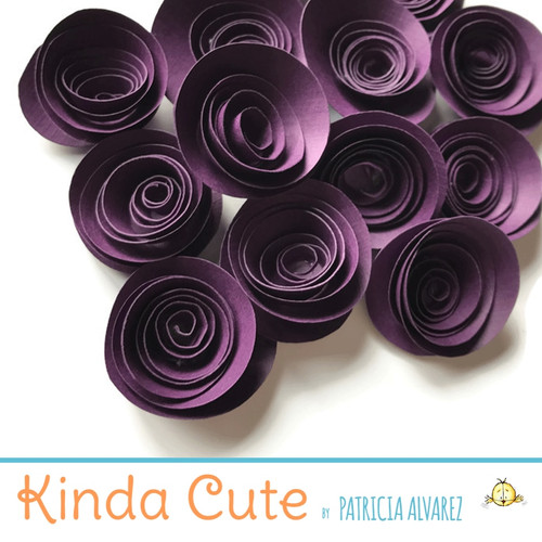 Small boysenberry paper flowers. Set of 24.