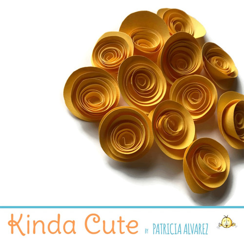 Small bright yellow paper flowers. Set of 24.