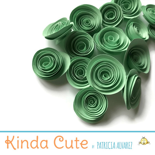 Small pale green paper flowers. Set of 24.