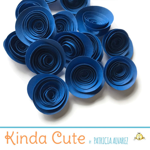 Small royal blue paper flowers. Set of 24.