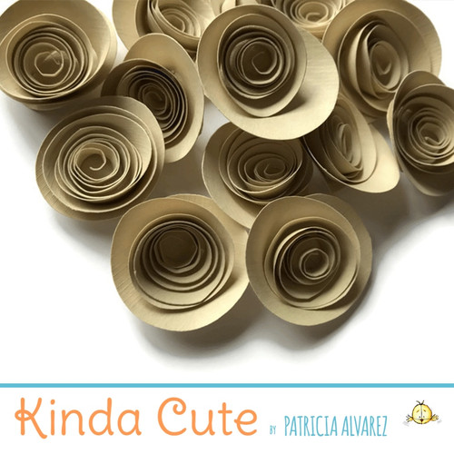 Small tan paper flowers. Set of 24.