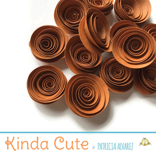 Small umber brown paper flowers. Set of 24.