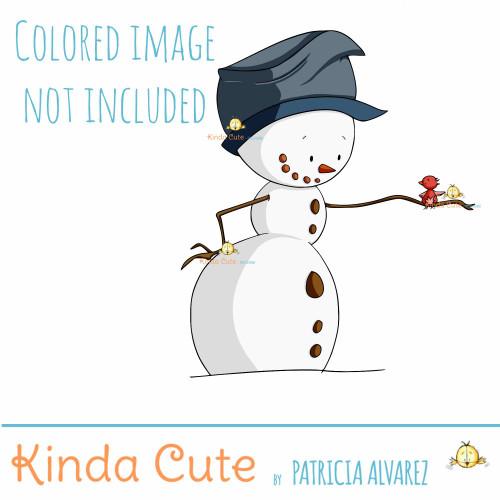 Snowman and bird digital stamp