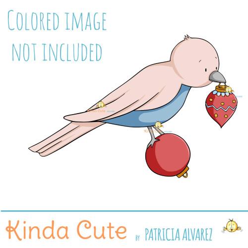 Christmas bird digital stamp