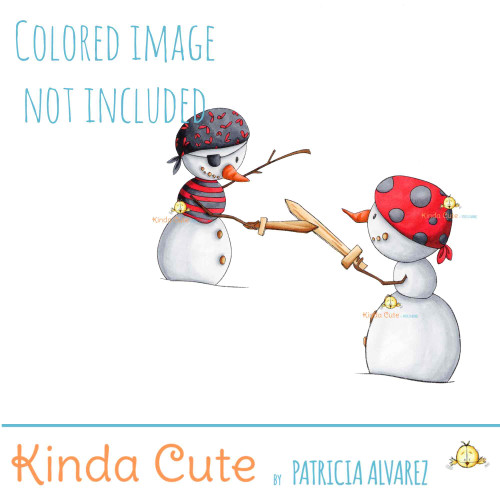 Pirate snowmen digital stamp