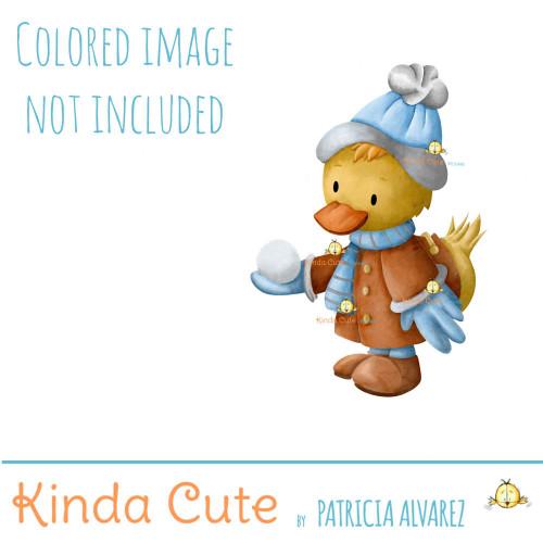 Winter duck digital stamp