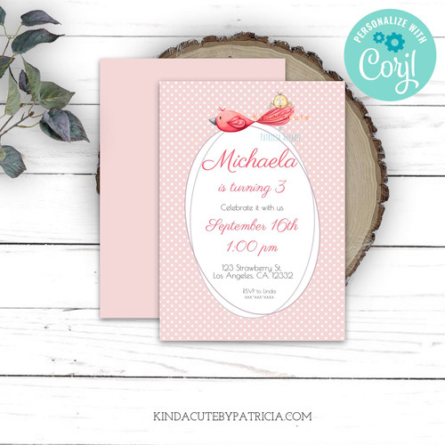 Pink birthday invitation. Editable file.