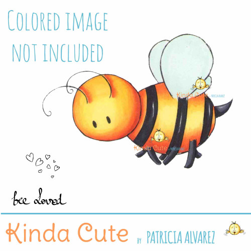 Bumble bee digital stamp colored for reference only.