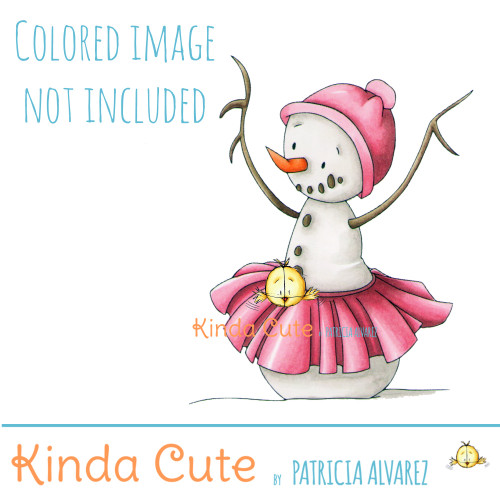 Ballerina snowman digital stamp. Black and white only. Colored only for reference.