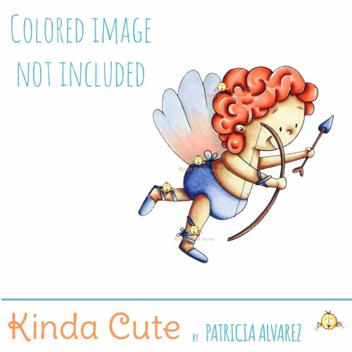 Cupid with bow and arrow digital stamp