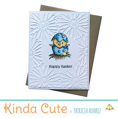 Adorable handmade card for Easter greetings. Partial floral embossing with a bird in an egg and the sentiment Happy Easter stamped in black