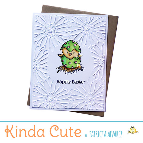 Embossed easter card with a bird in a green egg. h306