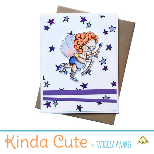Purple Valentine's day card with a Cupid flying. h309