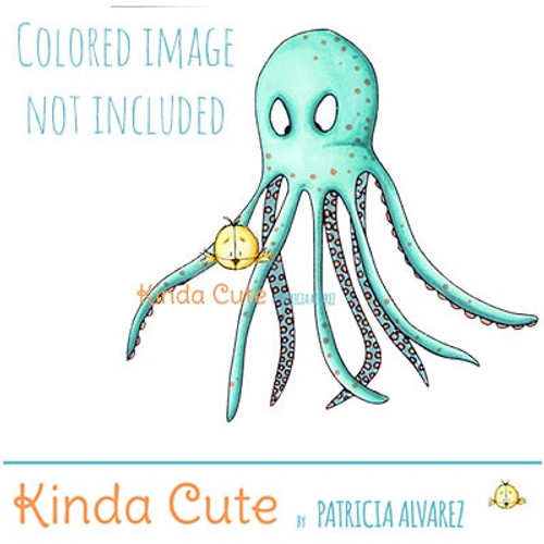 Happy octopus digital stamp set. Black and white. Colored for reference.