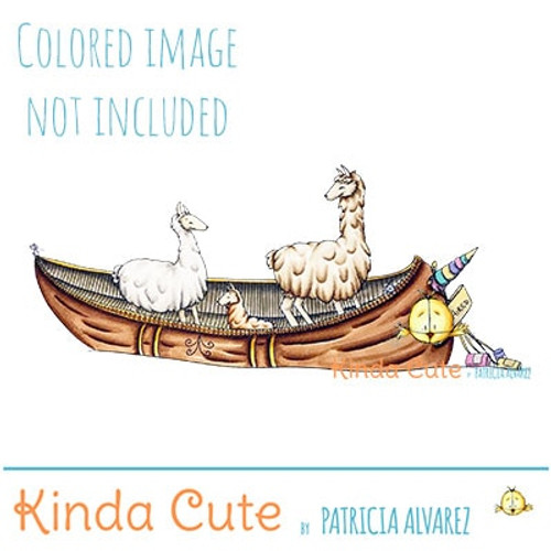 Llamas in a canoe digital stamp. Black and white only. Colored only for reference.