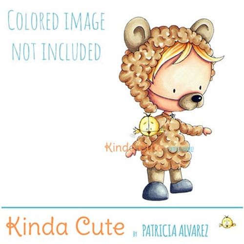 Kid in a bear costume digital stamp. Black and white only. Colored only for reference.