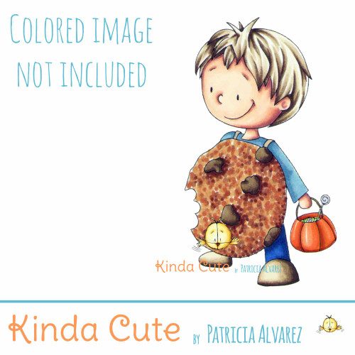 Boy in a cookie costume digital stamp. Black and white only. Colored image for reference.