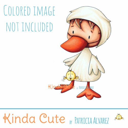 Kid in duck costume digital stamp. Black and white only. Colored only for reference.