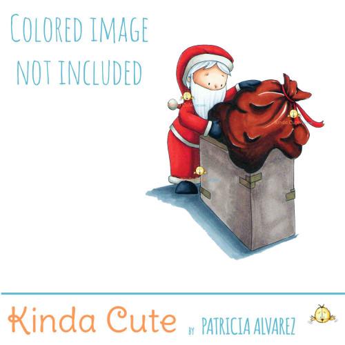 Santa's trouble digital stamp