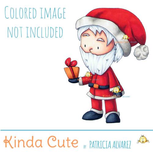 Santa's Gift digital stamp. Black and white only.