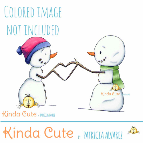 Snowmen love digital stamp. Black and white only.  Colored for reference only.