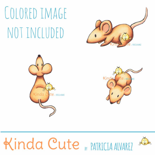 Mice digital stamp set for card making. Colored images for reference.