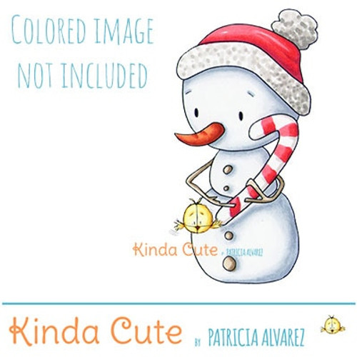 Snowman with candy cane digital stamp. Black and white only. Colored only for reference.