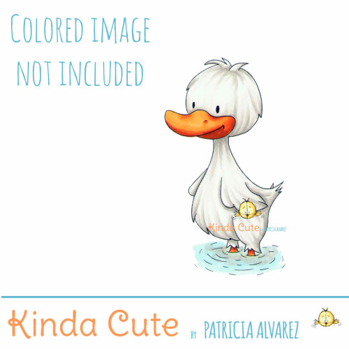 Happy duck in the water digital stamp.