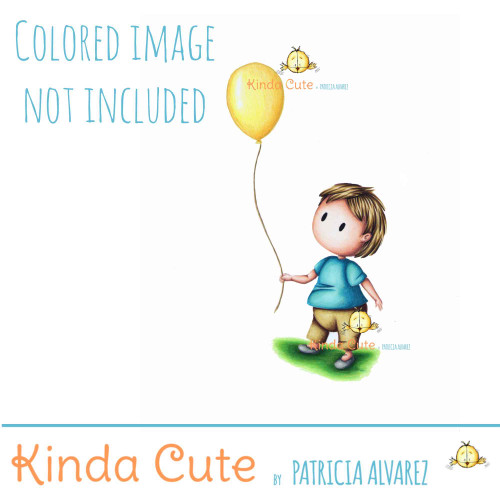 Birthday digital stamp of a boy with a balloon. Colored image only for reference.
