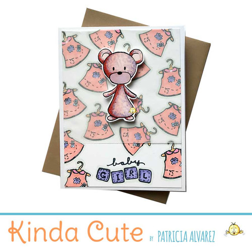 New baby girl card with a little bear in pink colors.
