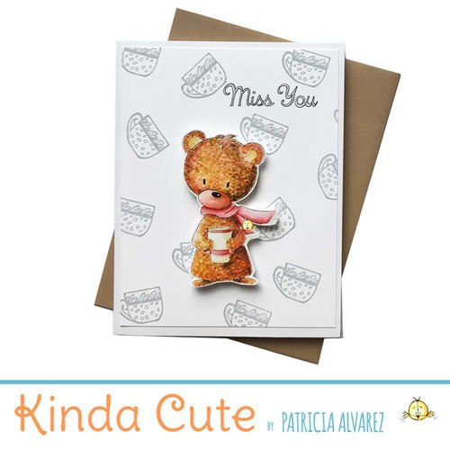 Miss you card with a bear holding a cup.